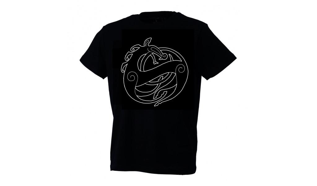 Black Urnes style t-shirt by Ian Ibæk Møller